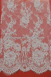 2014 scalloped eyelash lace edge hot sale french wedding lace fabric
