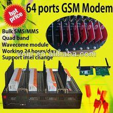 Multi ports gsm modem pool for bulk sms sending wavecom module At command 64 ports gsm modem tc35