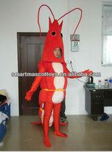 Caliente disfraz camarón rojo traje de la mascota para adultos