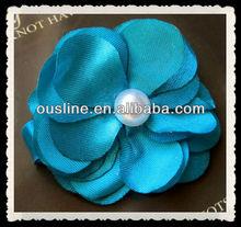pearl center satin flower,baby fabric decorative flower,flower hair clip