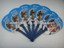 Hot selling fold up decorating plastic fan handle with custom logo