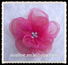 rhinestone fabric wedding hair flower,organza rose bridal pageant rhinestone flower