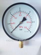 Y150R-6B Standard pressure gauge with black steel case back coonction