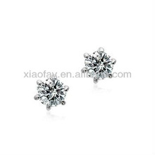 wholesale Round zircon stud earrings Platinum Plated