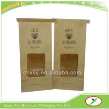 brown kraft food packaging paper bag with window