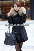 Designer stylish black long racoon fur collar winter down clothes women