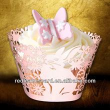 Wedding laser cut cupcake wrappers,rabbit design