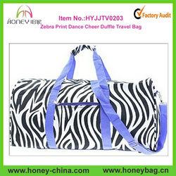 Purple Trim Black White Zebra Print Dance Cheer Sports Duffle Bag Luggage Travel Tote