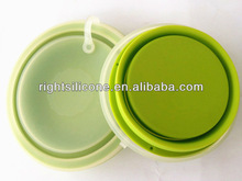 transparent lid easy clean collapsible silicone lunch box