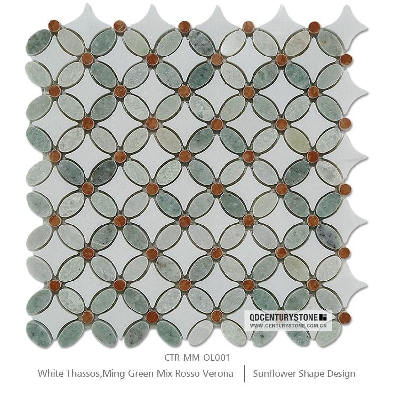도매 그리스 타 소스 흰색과 녹색 대리석 모자이크 꽃 패턴 홈 ...