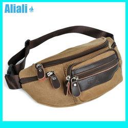 Fashionable men's waist belt bag canvas men's wallet