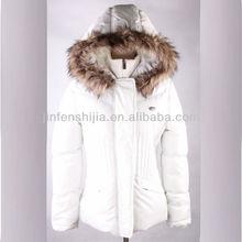2013 Padding White Ladys winter middle&long jacket with fake fur hood