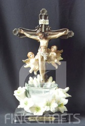 Polyresin religious Jesus cross church candle holder