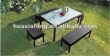 Garden Wicker Furniture - 4 Bench + 1 Table