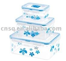 3pcs Rectangle Printing Food Container vacuum container