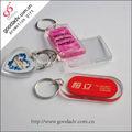 Guangzhou fábrica abastecimento keychain plástico/keychain acrílico personalizada