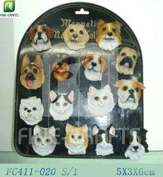 Polyresin tourist souvenir 3D dog fridge magnets