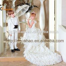 2015 white layered lace sleeveless princess girls evening dress/girls party dress