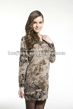 Women's butterfly printing cashmere knitting dress
