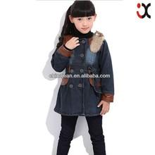 2015 new fashion style cheap kids jackets leather fur denim jacket (JXK31822)