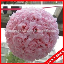 artificial pink rose ball,hanging flower ball for wedding decoration