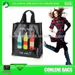 6 bottle wine bottle bag,bottle cooler bag,recycled plastic bottle tote bag