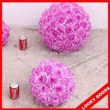artificial purple silk rose wedding kissing ball,silk rose flower ball