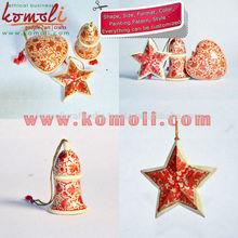 Handpainted Xmas - Christmas Tree Decorations - Stars, Bells & Hearts - Paper Mache