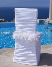 wedding chair cover with plume sash