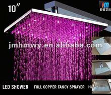 "10"" high-end LED rain shower 3 color temperature control"