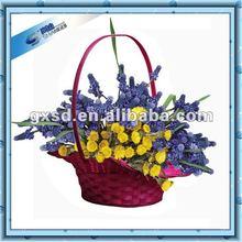 2012 Handmade Red bamboo flower basket indian wedding decoration