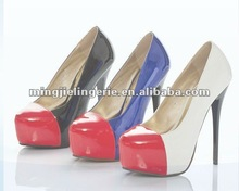 LF5272 2012 hot design two colors gradient PU womens high heel shoes