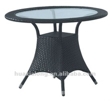 Popular coffee house Wicke rattanr Furniture black detachable Dining table/Foshan furniture
