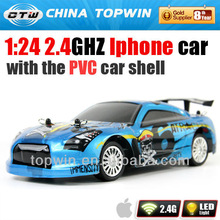 1:24 2.4GHZ I-phone controled RC car shape 2.4g wireless mouse with the PVC car shell