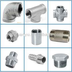 stainless steel CF8/CF8M threaded pipe fittings: elbow, tee, cross, union, nut, coupling, hose nipple, bushing, cap, plug