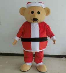 Santa dress teddy bear costume with clear visual fit all adult bear costume
