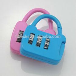 Zinc Alloy Bag Shaped Colorful 3 Digit Mini Gift Lock