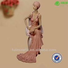 Resin Beautiful Woman Sitting Decorative Figure