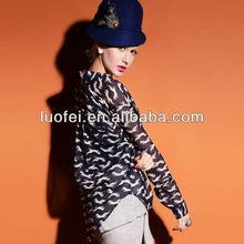 Custom fox animal print long sleeve fashion design lady asymmetrical wrap blouse