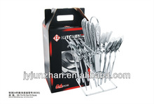 24pcs spoon sets of stainless steel shelf and color box pack