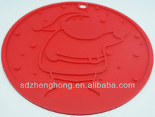 Embossed Santas Round Shape Silicone Pot Holder With Hang Hole On The Top