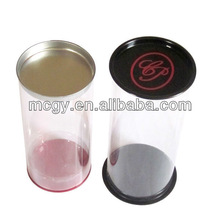 Beautiful Round Metal Perfume Tin Can With PVC Body Packaging Containers
