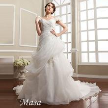 2014Hong Kong Wedding dress show Off shoulder embroidered A-line white vestidos de novia wedding gowns pictures