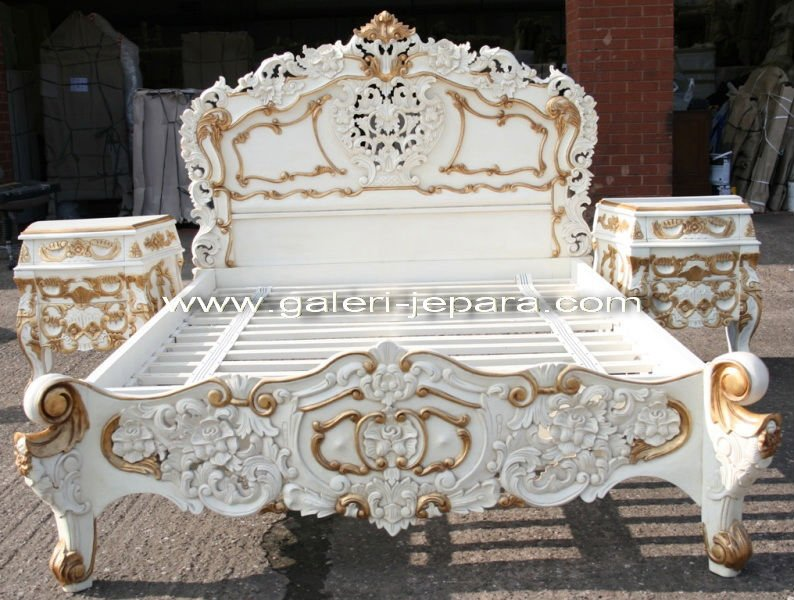 indonesian bedroom sets furniture white and gold of rococo bed set