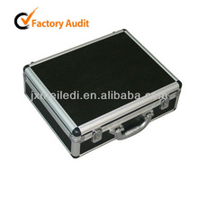 MLDGJ330 Black Top Grade PU Leather Case Beauty Briefcase with Aluminum Box