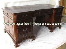 Antique Partner Desk - Office Desk - Jepara Furniture - Office Furniture