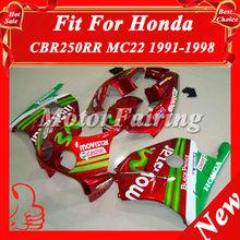 CBR250RR For Honda Motorcycle CBR250 MC22 91 92 93 94 95 96 97 98 Fairing Kit Bodykit ABS bodyfairing MC22 red green cheap price