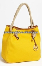 Yellow leather tote bag (SA8000, BSCI, ICTI social audit factory)