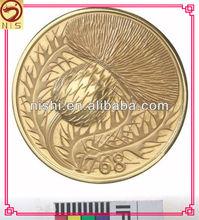 high quality custom gold flower coin