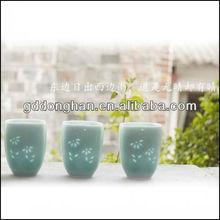green eco ceramic antique embossed mug grown in the dark